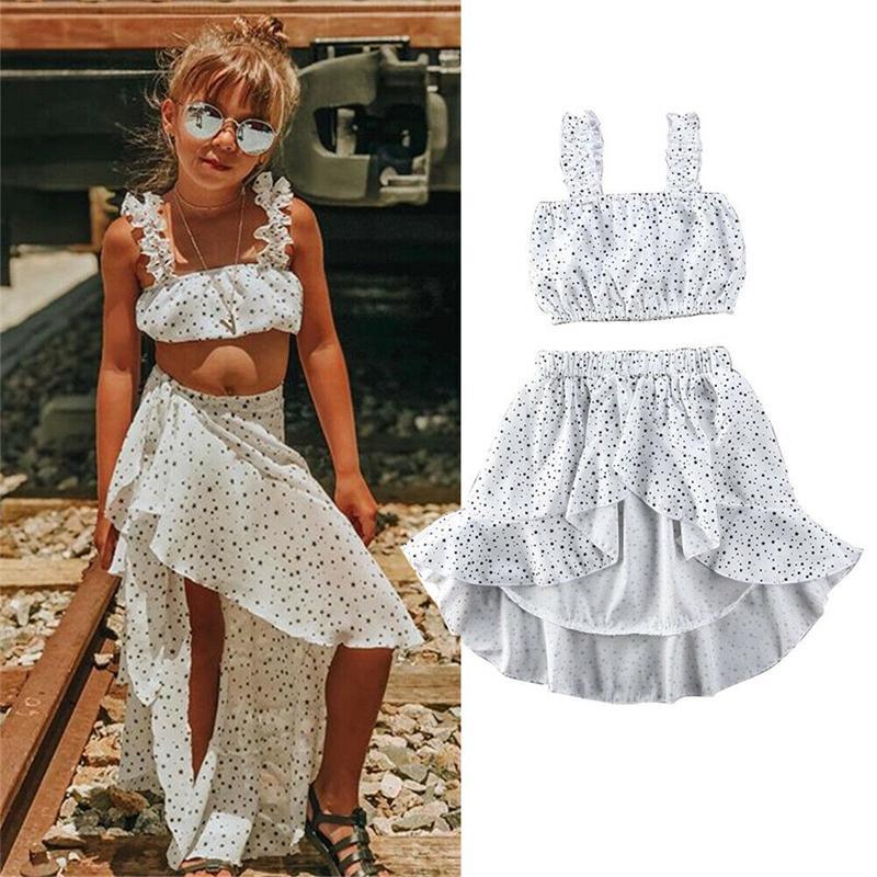 2020 de moda de verano del cabrito del niño del bebé ropa de la muchacha Polka Dot mangas de cultivos remata la camiseta falda de la colmena Equipo blanco Conjunto
