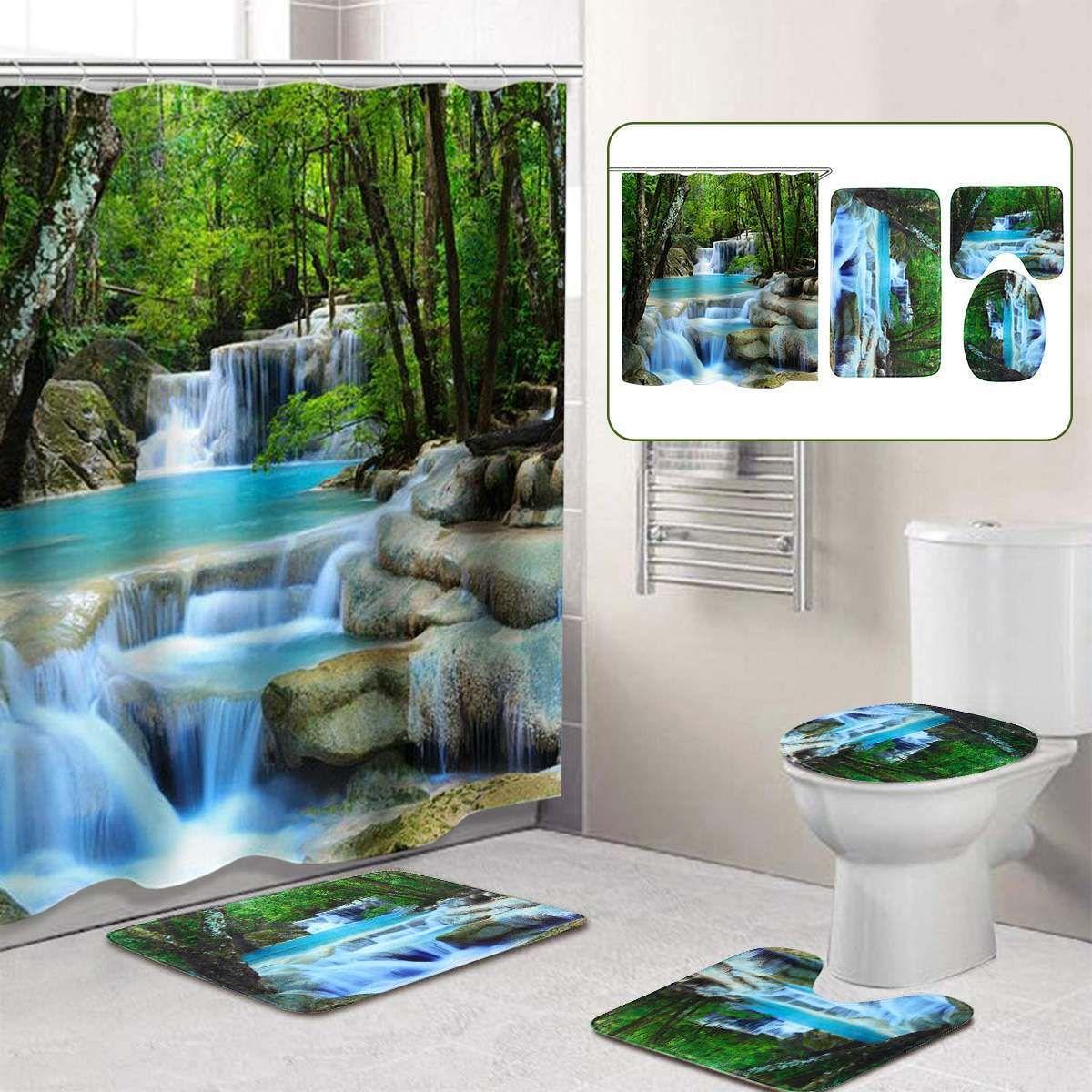3D Şelale Manzara Su geçirmez Duş Perde Banyo Peyzaj Ağaçları Çiçek Banyo Paspas Seti Kaideye Kilim Kapak Tuvalet Kapak