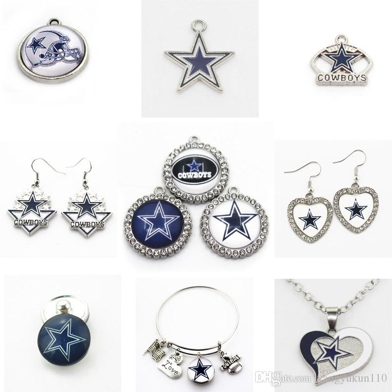 Encantos da equipe Football US Cowboys Dangle encantos Sports DIY Colar Pulseira de jóias pingente pendurado encantos