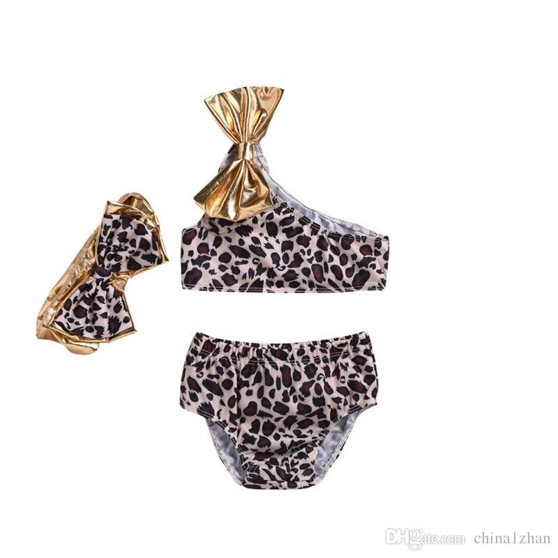 UK Toddler Kids Baby Girls Leopard Swimwear Bow Bikini Swimsuit Swimming Clothes