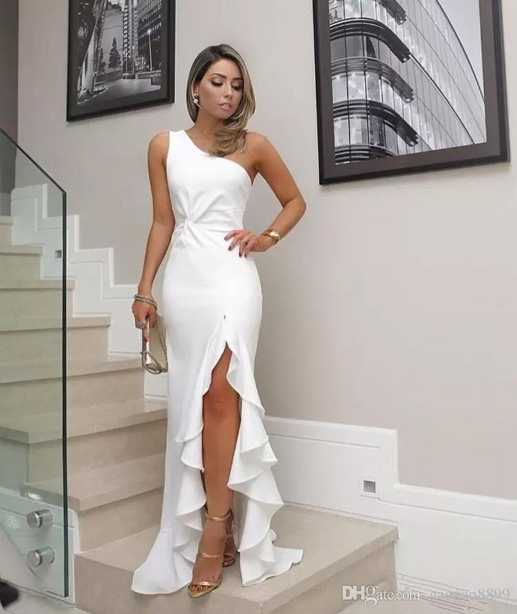 2019 sexy cheap plus size white prom dresses mermaid one shoulder high split arabic celebrity dresses party formal evening gowns