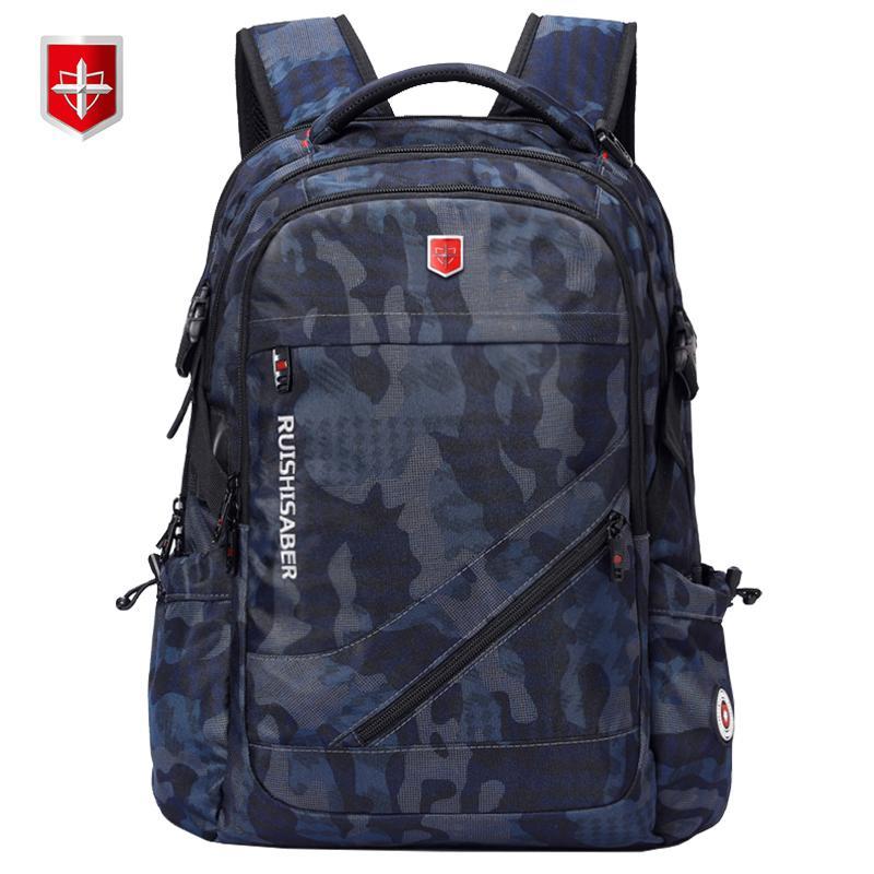 Анти-вор USB зарядный Ноутбук рюкзак Мужчины Швейцарского Оксфорд Bagpack Водонепроницаемый рюкзак для путешествий Женский Урожай мешок школы 15 / 17inch T191021
