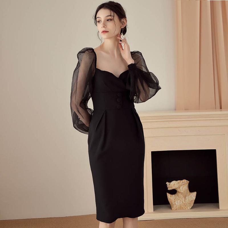Ocstrade 2020 Siyah Uzun Kollu BODYCON Elbise Zarif Kadın Seksi Mesh BODYCON Elbise Ünlü Akşam Partisi