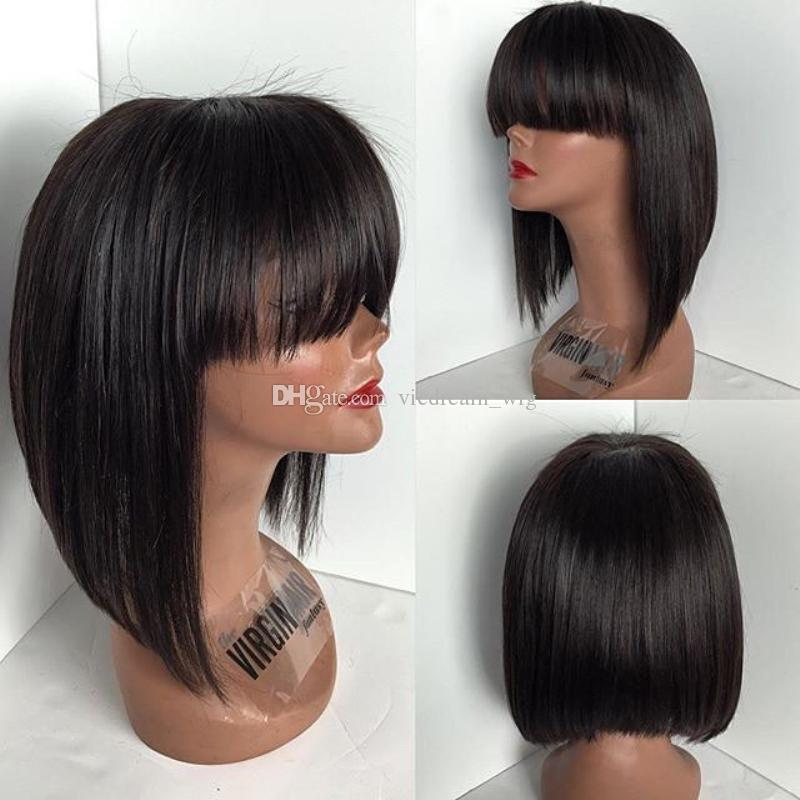 Short Bob Malaysian 100% human full lace hair wigs natural straight lace front human hair wigs with bangs for black women
