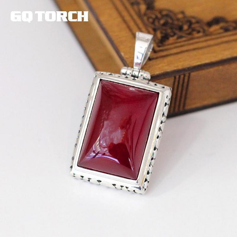 GQTORCH 925 Sterling Silver rubi vermelho pingentes para as mulheres Natural Gemstone ocos flor Carving Ladies Belas Vintage Jóias