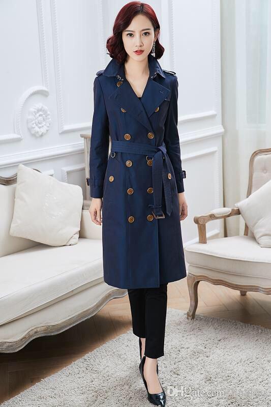 Chaqueta cortavientos larga y delgada para mujer chaqueta trench de doble botonadura de color caqui azul clásico chaqueta de viento británica M