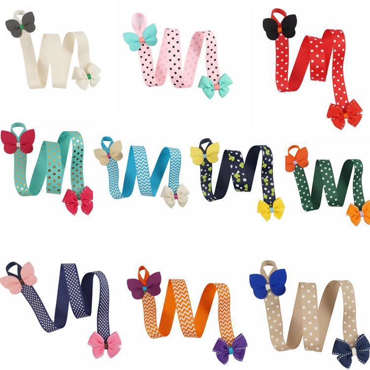 Multi Style Cute Girls Hairclips Storage Holder Dot Printed Chevron Solid Bows Handmade Storage Belt Kids Hair Accessories