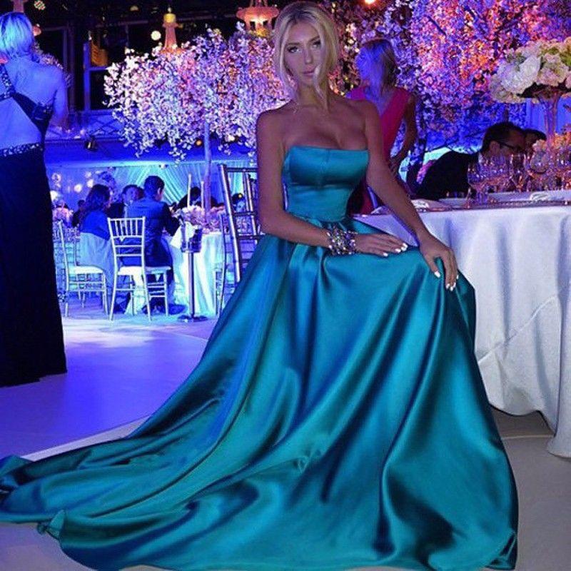 2020 Basit Straplez Vestido de Renda Curto Kolsuz Elbise Abiye Saten Resmi elbise Uzun Balo Parti Abiye