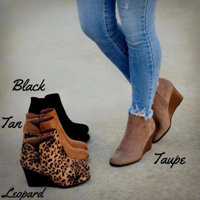 MoneRffi punta estrecha botines de invierno leopardo de las mujeres atan para arriba botas del tobillo de la plataforma Calzado de tacón alto Zapato de cuña mujer Bota Femenina