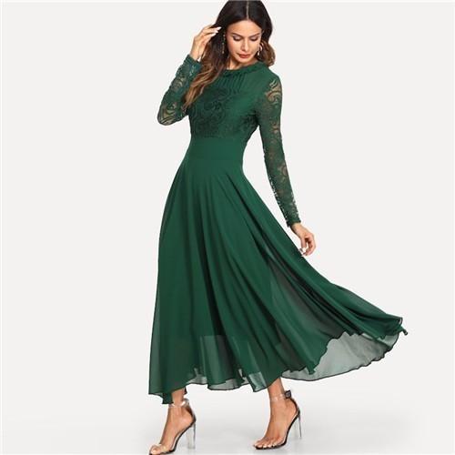 Green Mesh Lace Panel Sleeve Dress Women Solid Trim Pleated Dresses 2019 Spring Elegant High Waist A Line Dress