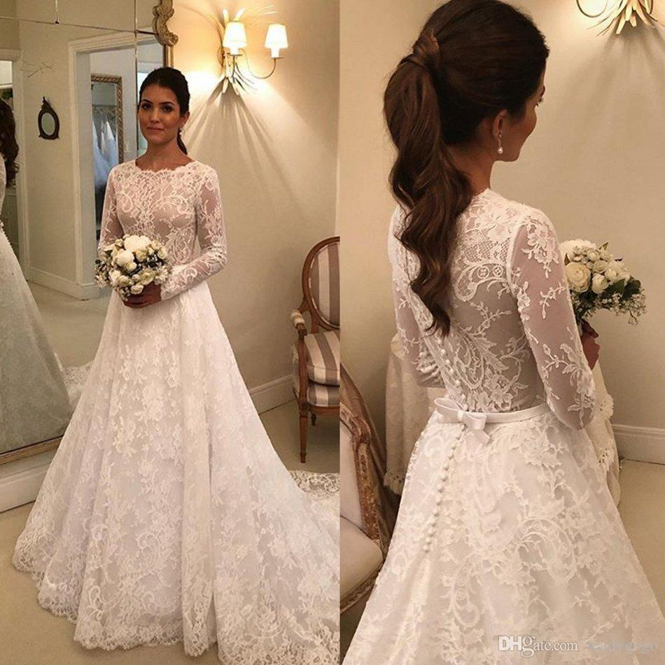 Modern Muslim Wedding Dresses with Long Sleeve 2020 Jewel Neck Full Lace Applique Arabic Princess Church Garden Wedding gown