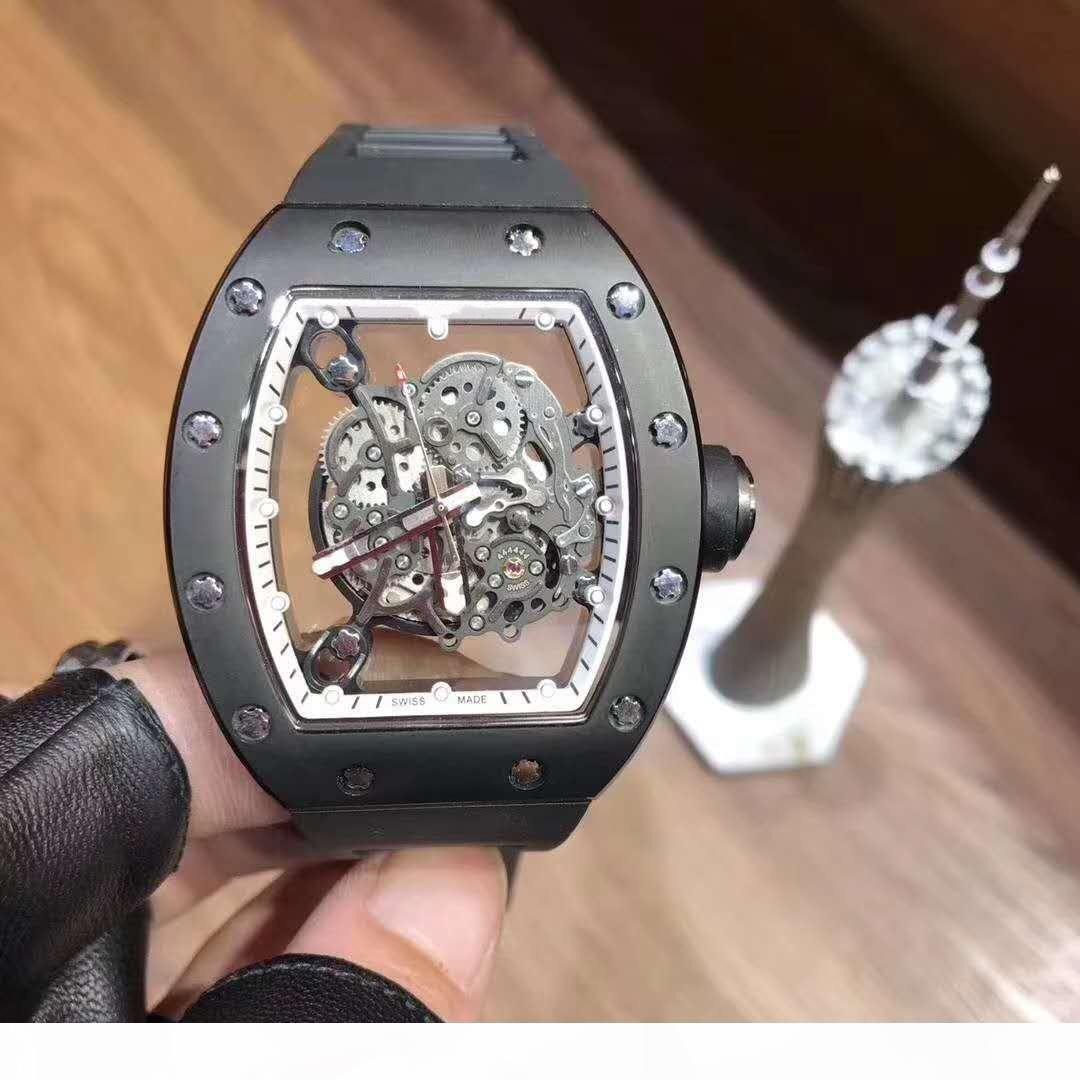 Plus grande taille 46mm Mâle Montre Hommes Automatique Mouvement Montres Noir En Caoutchouc Sport Auto-Vent designer montres Montres