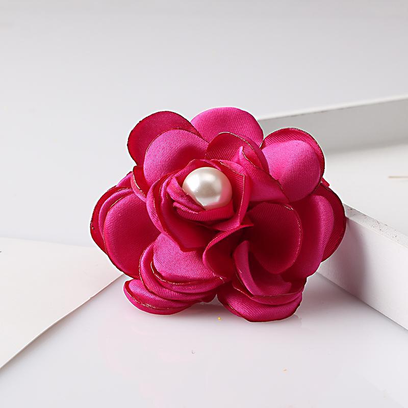 Clip di capelli del fiore del tessuto delle donne dolci con la perla Scherza l'attaccatura dei capelli della forcella della forcella floreale delle ragazze