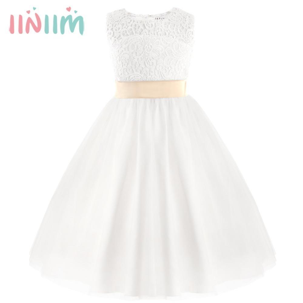 Iiniim Kızlar Elbise Zarif Çiçek Kız Elbise Yaz Prenses Elbise Dantel Kalp Şekli Toddler Vestido De Festa Parti Elbise J190713