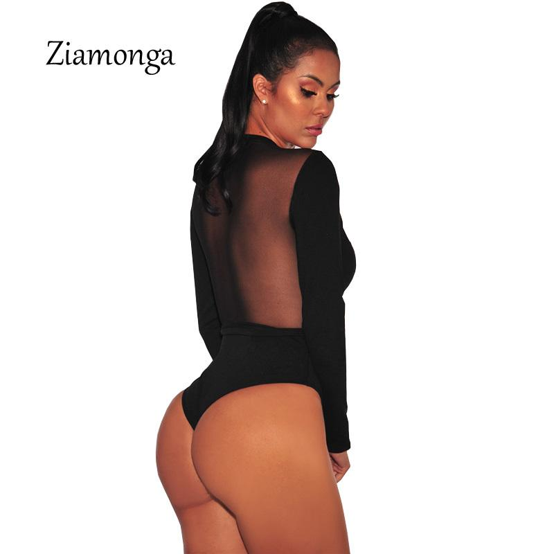 Manches longues Bodysuit 2019 nouveau style sexy court Jumpsuit et barboteuses pour les femmes Mesh Patchwork Noir Salopette Salopette Y200401