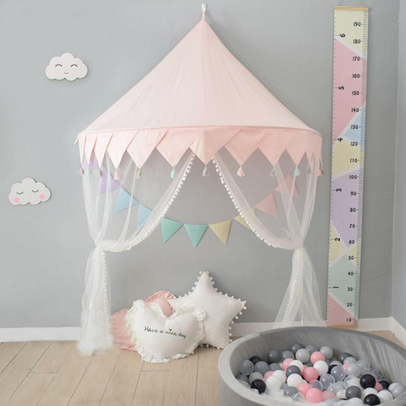 Nordic Kids Play Tente Princesse Rose Playhouse Château Tipi Enfant Intérieur Extérieur Lit bébé Lit à baldaquin Tente Enfants Chambre Décor