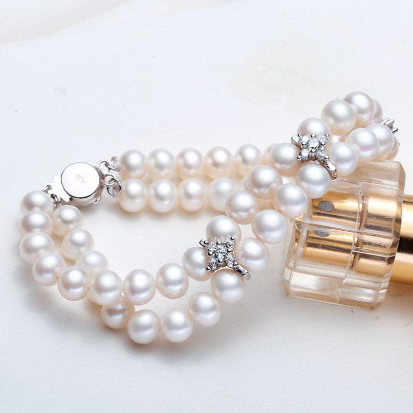 ASHIQI Real 6-7mm white natural Freshwater pearl Bracelets 2-row jewelry for women wedding