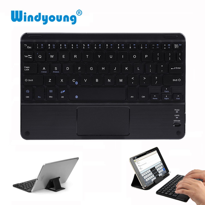 لوحة المفاتيح لوحة مفاتيح تعمل باللمس بلوتوث اللاسلكية للحصول على الروبوت اللوحي وحة مفاتيح الكمبيوتر المحمول العالمي المحمولة البسيطة بلوتوث لاسلكية مع لوحة اللمس