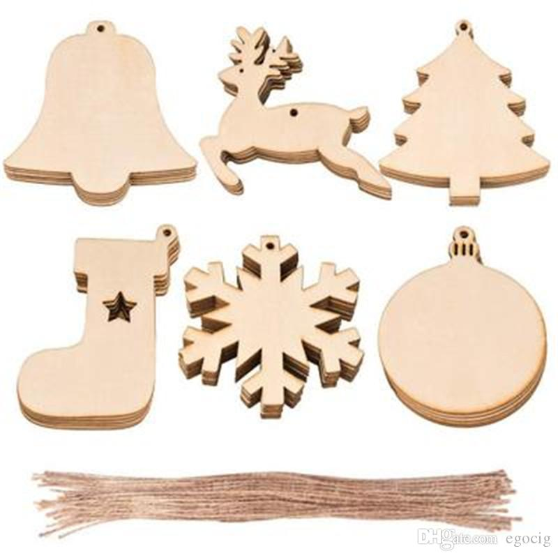 10Pcs//Set DIY Craft Christmas Xmas Wood Chip Hanging Pendant Ornament Home Decor