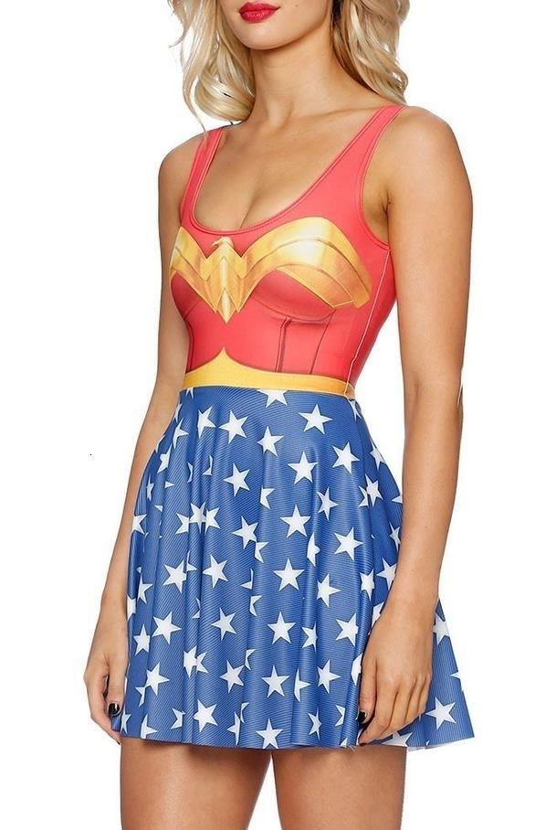 2018 Cosplay Costumes WONDER WOMAN 3D Digital Printing Anime Pleated Skirt Dress Women DressesMX190921