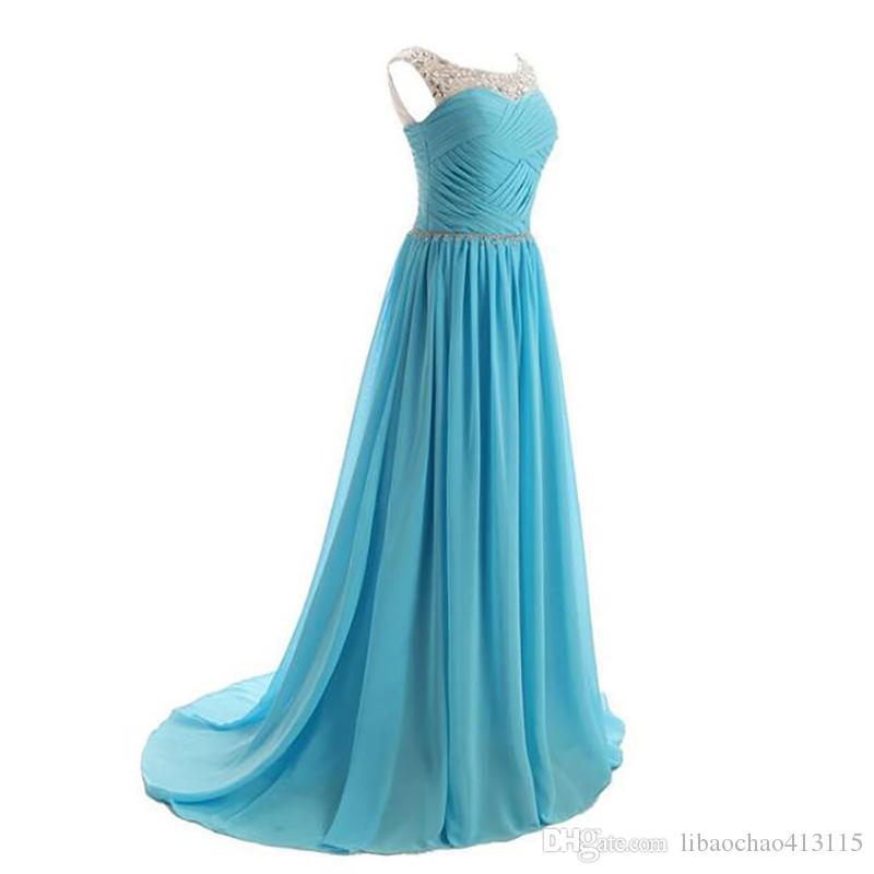 Compre 2018 Moda Vestido De Noche Azul Vestidos De Noche Largos De Lujo Para Las Mujeres Robe De Soiree Party Vestido Largo Vestido De Fiesta Para
