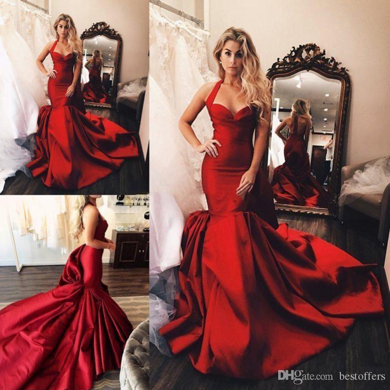 Vestido de festa Abiti da sera rossi 2019 Runway Modern Halter Raso increspato Abiti da ballo Sexy Backless Court Train Formal Party Dress