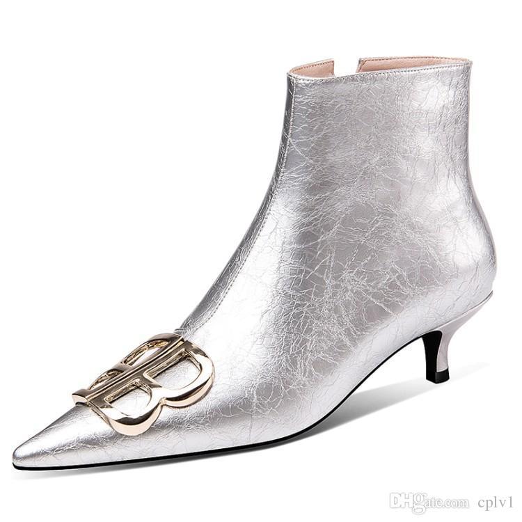 Prata Preto do gatinho do casamento sapatos de salto patentes Mulheres Botas Sapatos de couro genuíno botas de couro de vaca Muscle Sole Zipper Bota For Ladies WA012