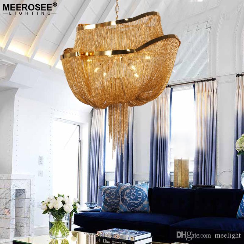 Creative Design Chanselier Light Итальянская кисточка алюминиевая цепь Lustres Современная подвесная светлая подвесная лампа для гостиной фойе