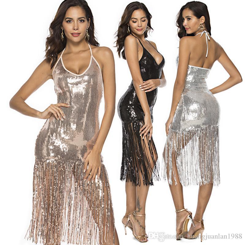 Новые женские платья с кисточками и блестками Сексуальная V-образным вырезом сумка хип юбка платье ремень платье