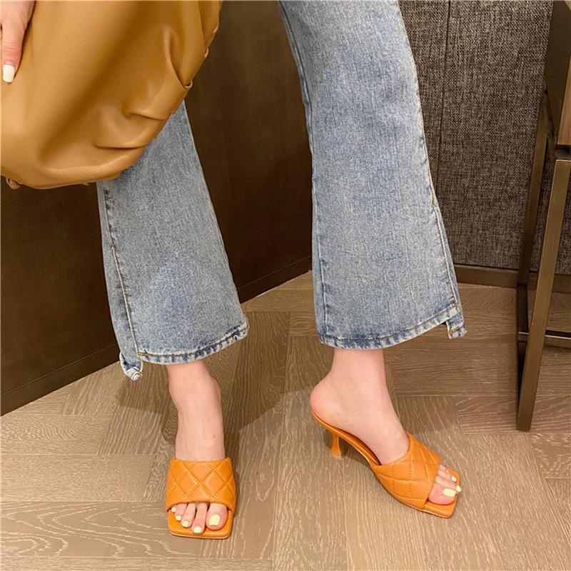2020spring femmes de talons hauts été ouverte place sandales femmes Toe glissement de la mode sur les chaussures de femme mules de plage dames