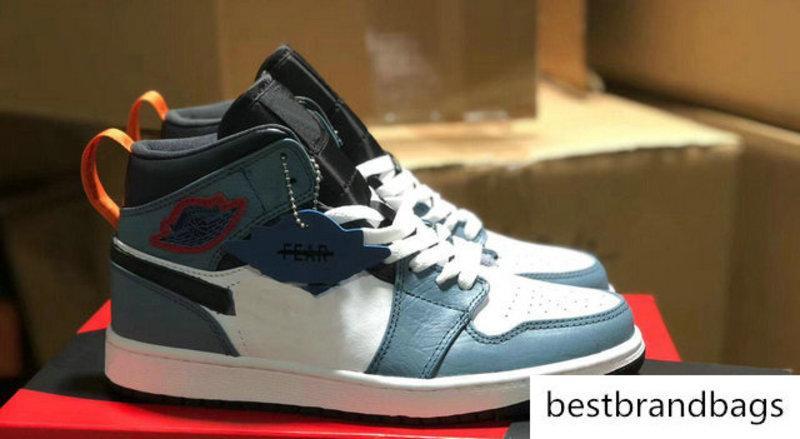 1 1s Destemido alta Mens Basketball sapatos de couro azul branca vermelha Facetasm x 1 mediana SE sem medo Mulheres Sports Trainers Correndo Sneakers
