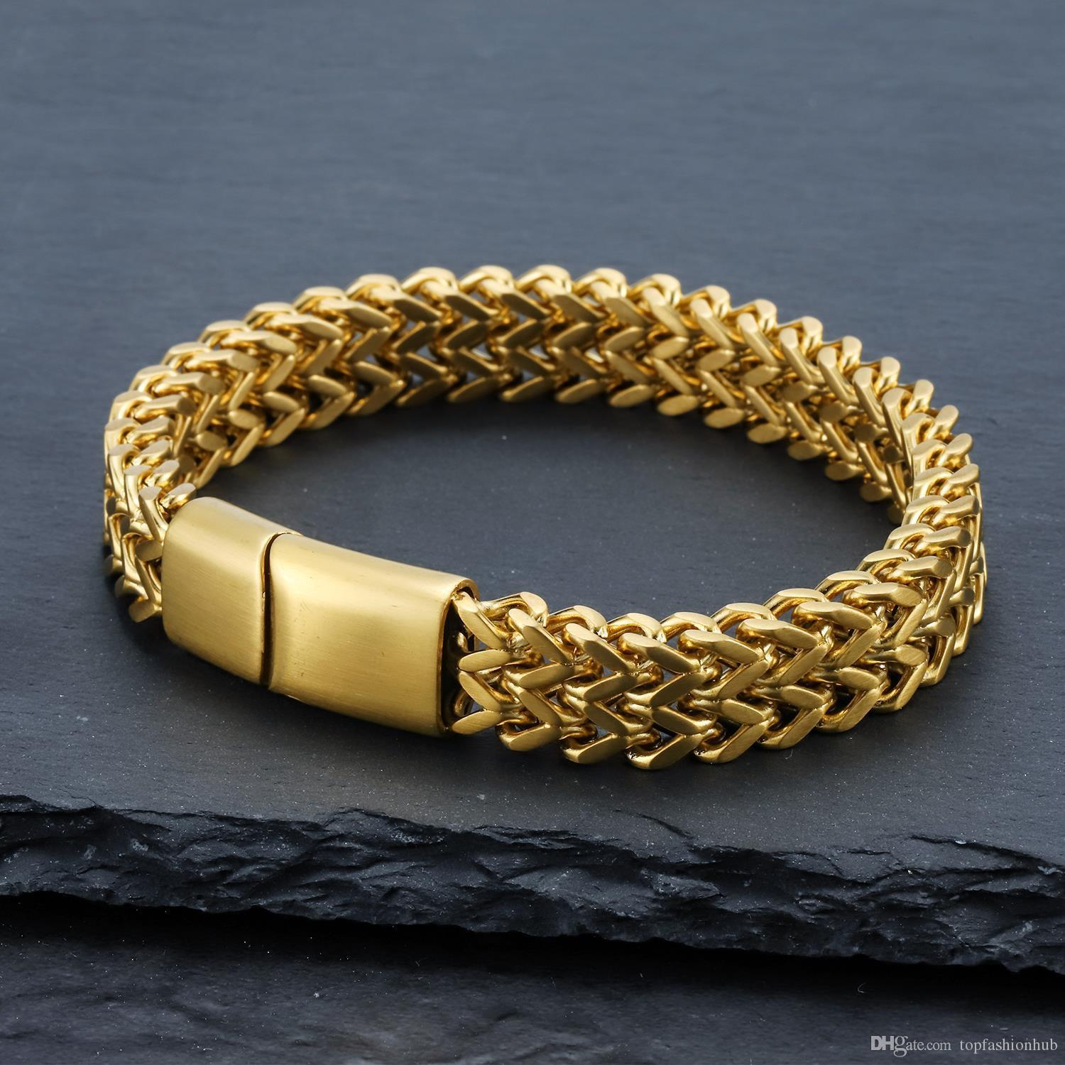 Hip-hop Stainless Steel Braided Bracelets & Bangles Punk Hip Hop Jewelry Gold Silver Rock Roll Accessories