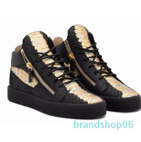 Caliente-Venta italiana marca con Hombres Mujeres Zapatillas Guiseppes verdadera remache del cuero de las zapatillas de deporte de la arena de recreo zapato casual