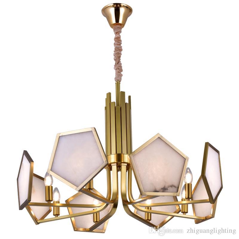 Nordic postmodern all copper living room chandelier creative restaurant lighting villa duplex building imitation jade chandelier
