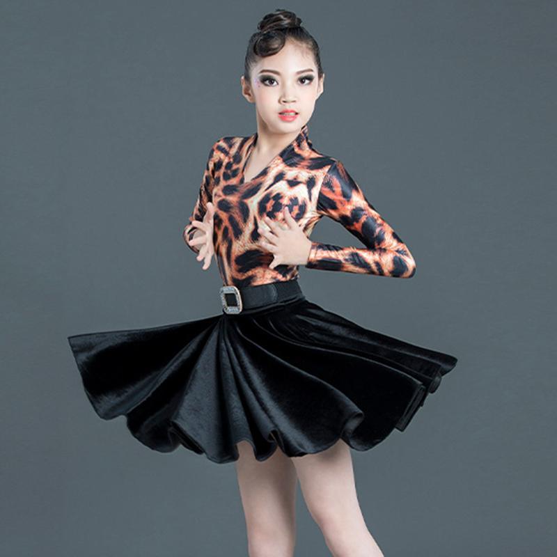 Latin Dance Girls Dress Leopard Imprimer Jumpsuit Rumba Cha Cha Samba Tango Salsa Costumes pratiques de danse Vêtements pour enfants DN5225