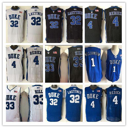Duke Blue Devils College Jersey 4 JJ Redick 32 Christian Laettner 33 Grant Hill 1 Zion Williamson Todos cosidos camisetas de baloncesto de NCAA