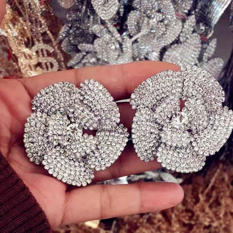 Declaração de vestido de noite de Nova Chegada brilhante Rhinestone Flores brincos Mulheres Moda Jóias Maxi Brinco Lady Acessórios