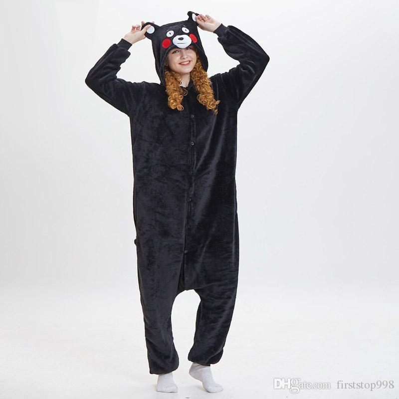 Kumamon Kigurumi Onesie Donna Adulto Orso Nero Pigiama Divertente Cute Animal Cartoon Tuta Inverno Caldo Morbido Kugurumi Street Wear