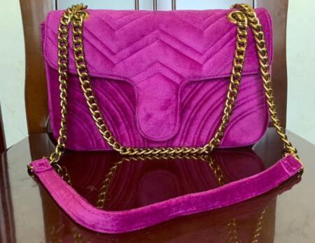 qualidade 5A Moda Mulheres Bolsas de Ombro Classic Gold Cadeia 26 centímetros saco de veludo estilo do coração Mulheres Bag Handbag bolsa de lona Mensageiro bolsas