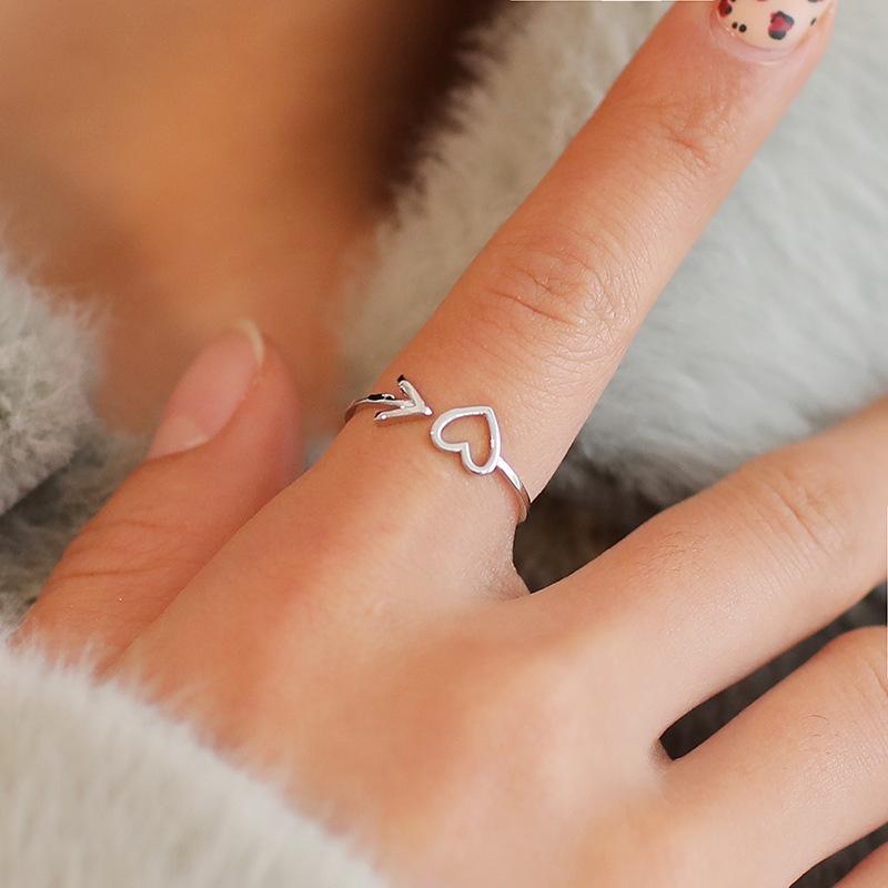 Cuivre réglable Laissez Bague coeur creux Anneaux bijoux de mariée de mariage