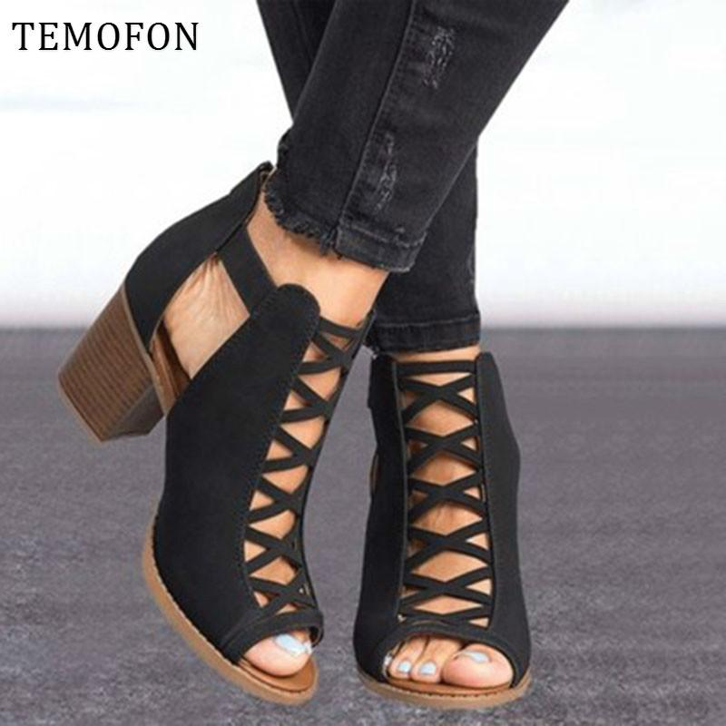 TEMOFON 2020 women square week Sandals beep hollow out chunky gladiator sandals with strab black spring summer shoes HVT791 Y200405
