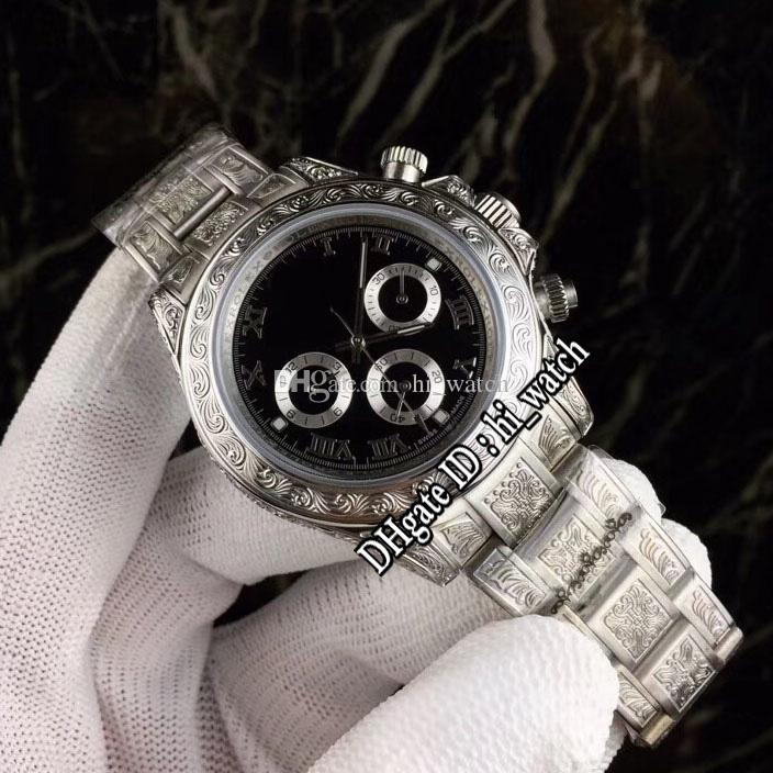 Nueva A2813 automática del reloj para hombre del tatuaje tallada caja de acero Negro Dial plata del acero inoxidable Relojes Pulsera Subdial 39a1 116500 hi_watch