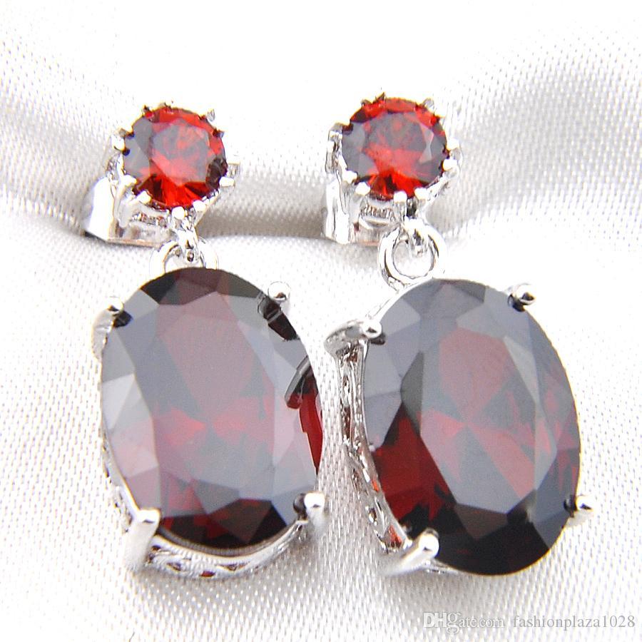 Spedizione gratuita - 5 pc / migliore vendita e di nuovo stile 925 argento placcato rosso granato gemme Orecchini per Lady E0164