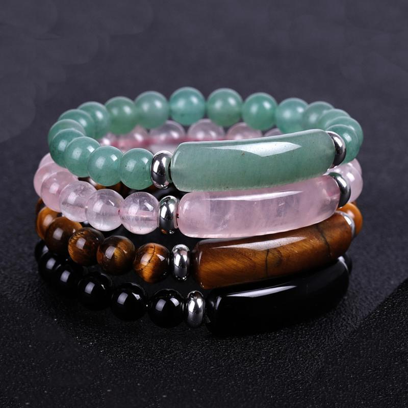 8mm pietra naturale Strand Bracelet Reiki Guarigione Quarzo Avventurina Agate Rosa Cristallo rettangolo Bar Fascino Braccialetti di perline