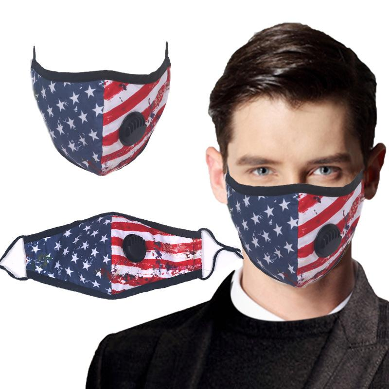 Vana Yıkanabilir Pamuk Karşıtı Toz Maskeleri Yenilikçi ABD Bayrağı Yaz Nefes Ağız Yüz Kapaklı Yetişkin Yeniden kullanılabilir Yüz Maskesi