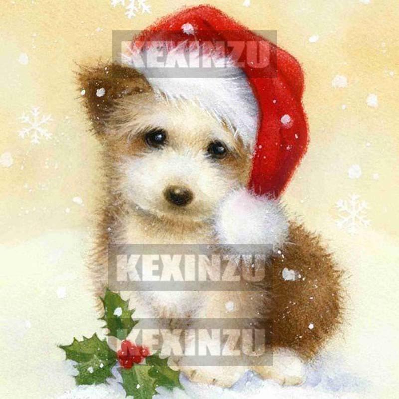 """Tam Kare / Yuvarlak 5D DIY Elmas Boyama """"Noel hediyesi"""" köpek Hayvan Nakış Çapraz Dikiş Mozaik 15x15 cm tuval Boyutu Ev Dekor Hediye"""