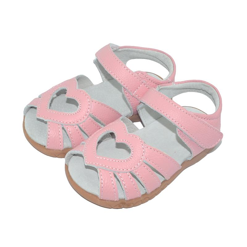 2019 new genuine leather girls sandals white summer walker shoes with heart cutouts antislip sole kids toddler 12.3-18.3 SandQ CX200629