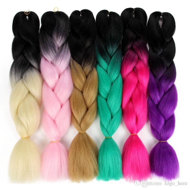 wholesale 24inch Synthetic High Temperature Fiber Ombre Kanekalon Brading Hair braids Extension 100g/pcs Jumbo Braiding Hair R0696
