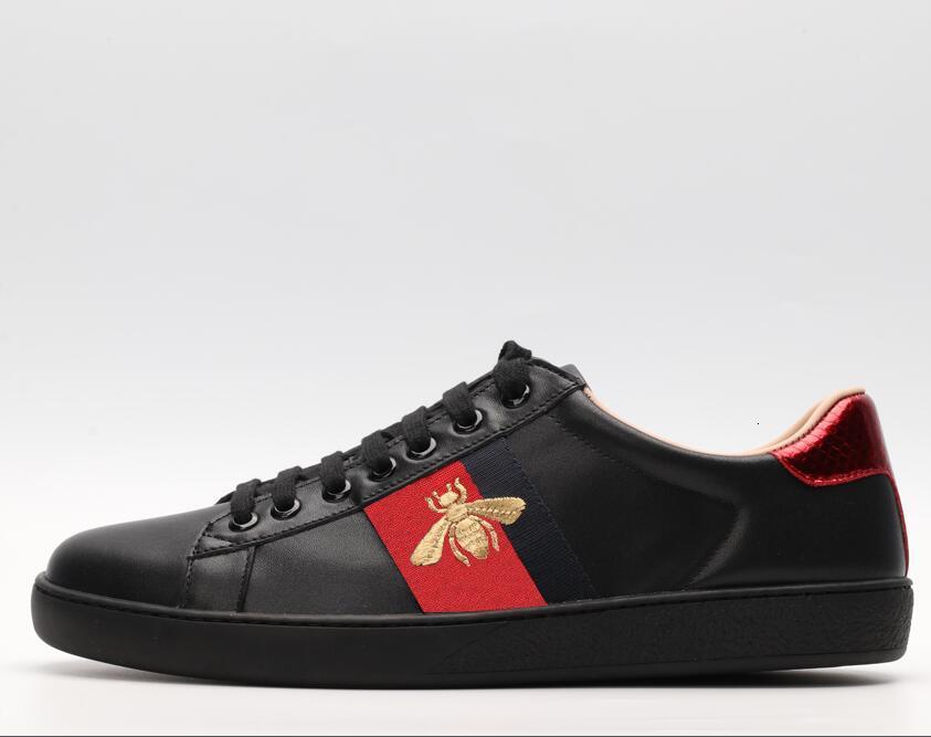 Nueva llegada de la manera mujeres de los hombres de los zapatos ocasionales de lujo de las zapatillas de deporte zapatos de los pares de calidad superior de cuero verdadero abeja A08 bordado