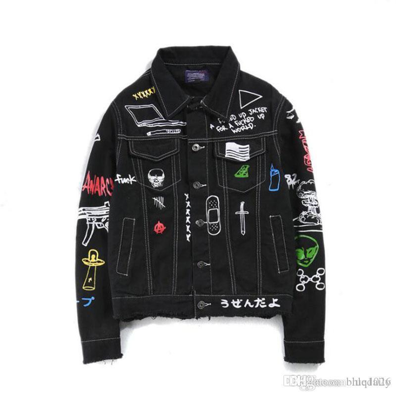 남성용 힙합 패션 인쇄 청바지 자켓 남성면 캐주얼 스트리트 가을 새로운 데님 재킷 코트
